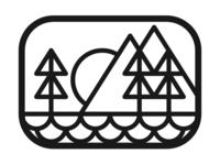 Outdoors Badge - Black on White