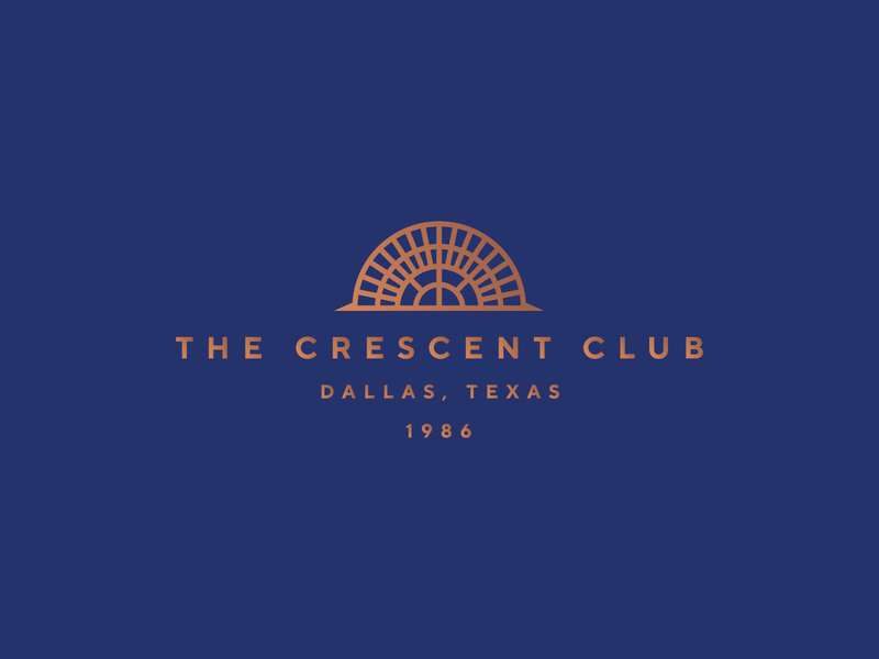 The Crescent Club Logo blue gold logomark logotype logo brand identity branding