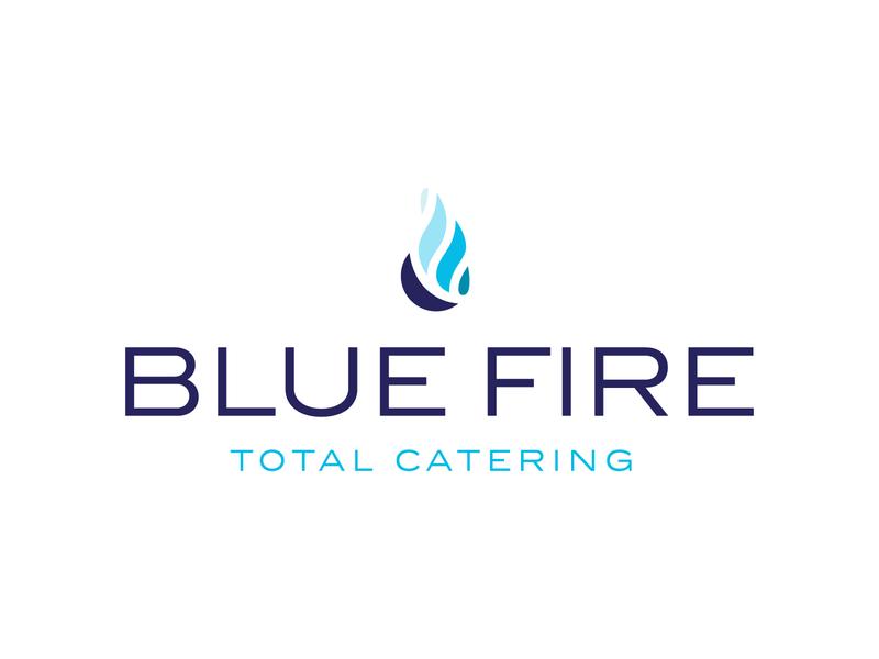 Blue Fire Catering Logo logotype logomark catering flames fire blue logo branding brand identity