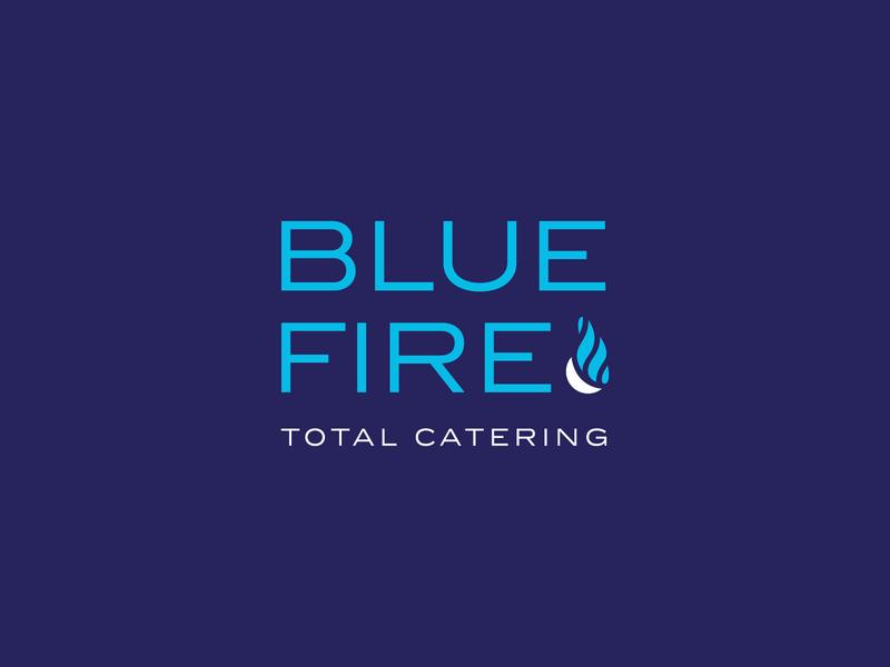 Blue Fire Catering Logo logo catering flames fire blue logotype logomark branding brand identity