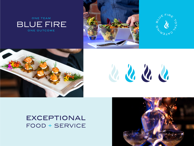 Blue Fire Catering logo catering flames fire blue logotype logomark branding brand identity