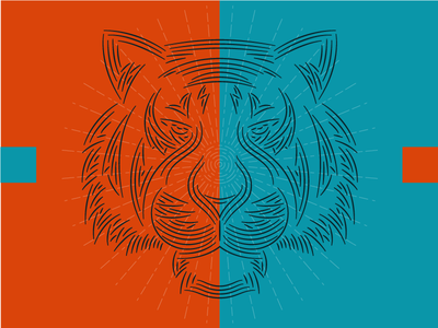 Striped Beast identity branding cat tigre tiger logo line art