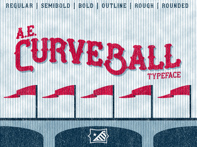 AE Curveball Typeface sports baseball display font tuscan type typeface