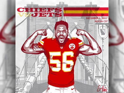 Chiefs @ Jets Illustration chiefs kansas city chiefs sports branding sports logo sports design sports