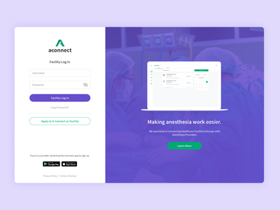 Aconnect - Log In interface design ui healthcare anesthesiologist anesthesia hospital doctor homepage