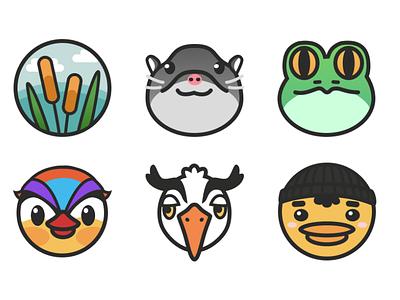 Twitch Loyalty Badge Designs cute badge twitch pond animals icon logo branding vector illustration figma design
