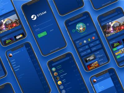 Steam Redesign app interface blue sketch figma redesign ui steam