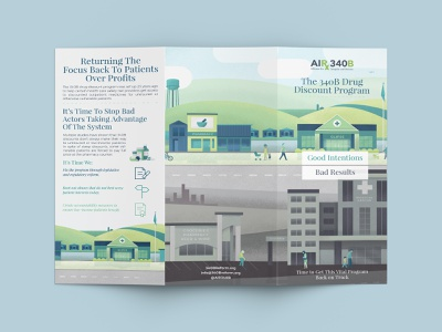 340B Reform Trifold branding reform print infographic illustration brochure justice design trifold