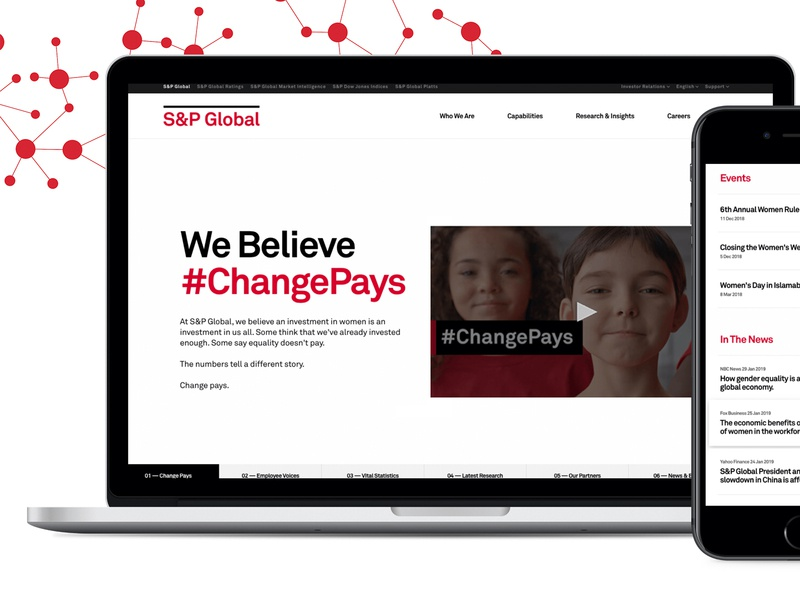 S&P Global – Change Pays Digital Campaign branding mapping social media investment womens rights social justice global digital design dataviz workplace women empower