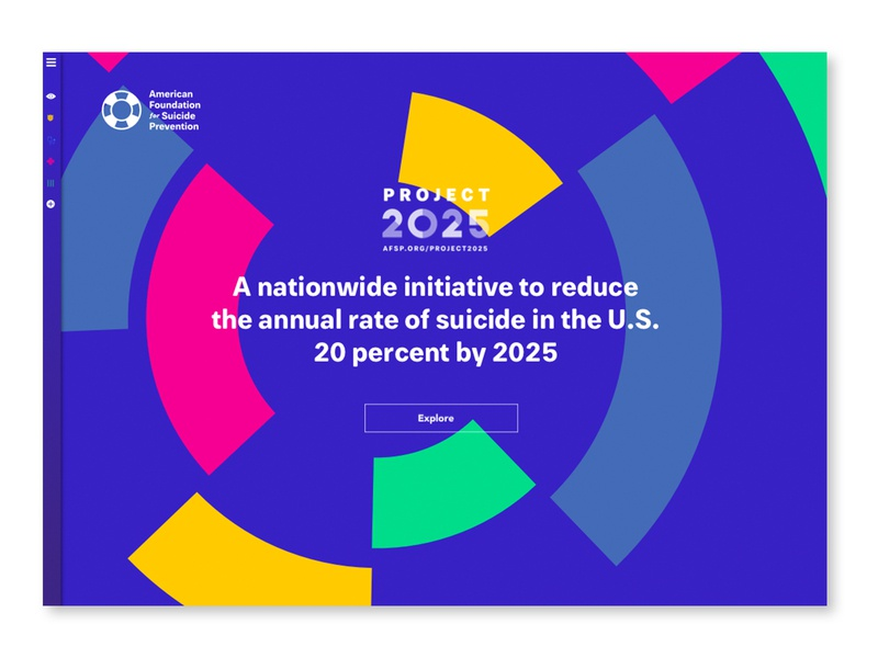 American Foundation for Suicide Prevention: Project 2025 mental health interactive campaign research iconography branding infographic design data visualization suicide video microsite education advocacy prevention