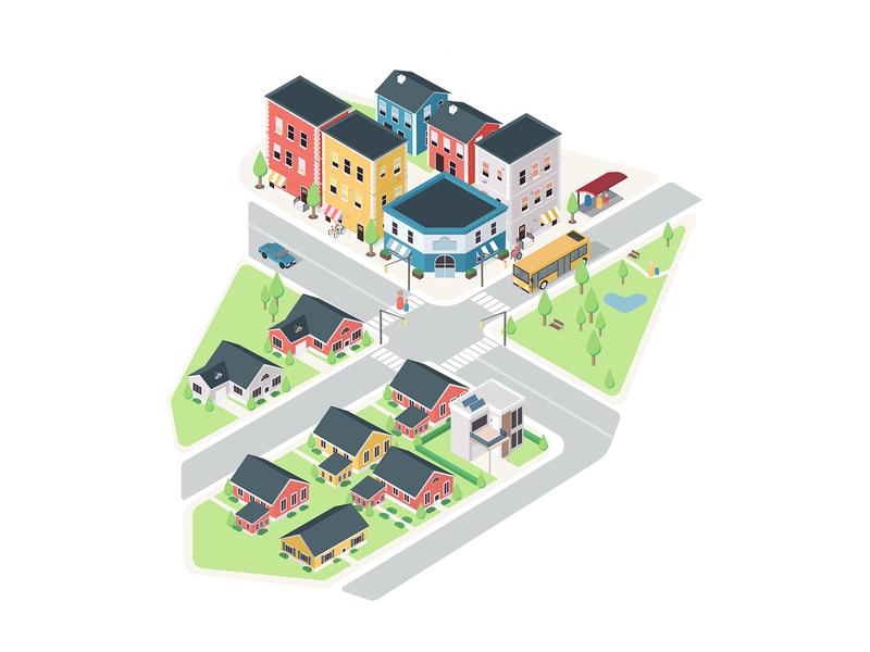 Future of Housing lllustration neighborhood house design interactive vector illustration