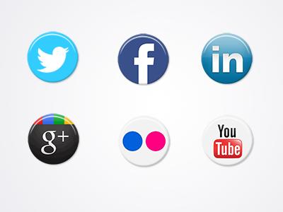 Social Buttons twitter facebook linkedin googleplus flickr youtube buttons social