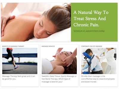 Georgetown Massage and Bodywork  georgetown massage bodywork responsive home page modules widgets green high-res imagery