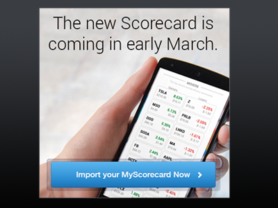 Coming in Early March promo bigbox ad scorecard march phone mobile stock data button call-to-action