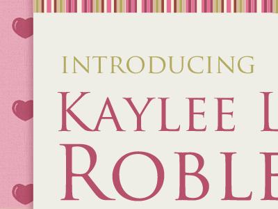 Introducing Kaylee introducing kaylee hearts pattern pink baby