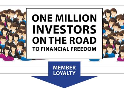 One Million Investors on the Road infographic tagline arrow