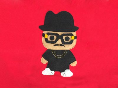 RUN DMC hip hop rap felt sewing apparel kids clothing baby clothes craft hand design run dmc