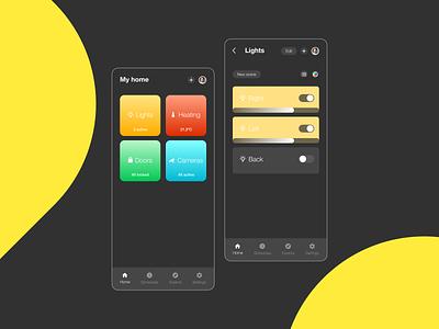 Daily UI #021 - Home Monitoring Dashboard smart home smart lights smart house lights monitor home app home utilities ux ui daily ui