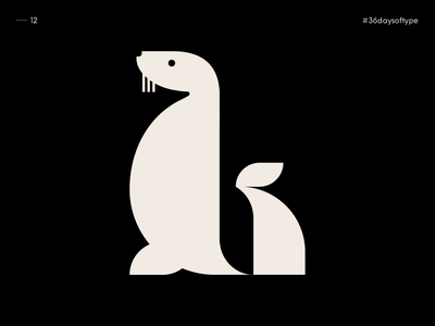 L as Sea Lion - 36 Days of Type 2020 vector blackandwhite 36daysoftype design johannlucchini typography graphic design alphabet typography alphabet animal sealion sealife sea lion seal
