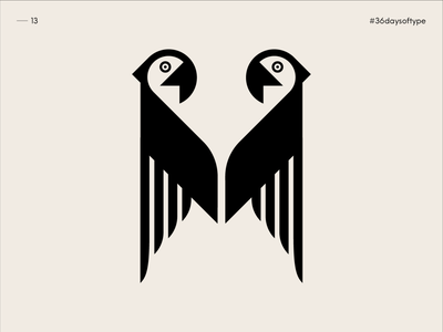 M for Macaws - 36 Days of Type 2020 graphicdesign johannlucchini bestiary alphabet typography alphabet bird logo birds bird logotypes negative space logotype parrot logo parrots parrot macaws macaw