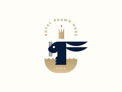 Royal Brown Hare Logo johannlucchini badge geometric blue gold minimal bunny rabbit crown hare logo design logotype logo