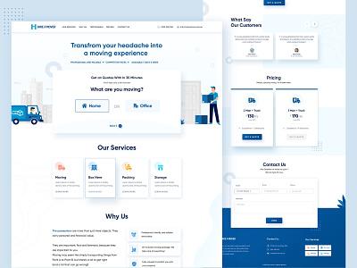 Hire A Mover Landing Page home page pricing design services design website illustration graphic design web design landing page ui ux design creative clean design