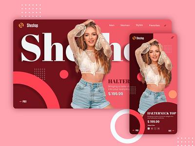 Sheshop - fashion united minimal trending mobile app web design web illustration branding logo landing page header design flat ux ui shopping app explore ecommerce dark ui dark app background
