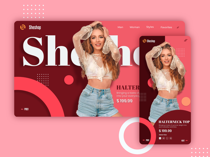 Sheshop - fashion united minimal trending mobile app web design web illustration branding logo landing page header design flat ux ui shopping app explore ecommerce dark ui dark app background