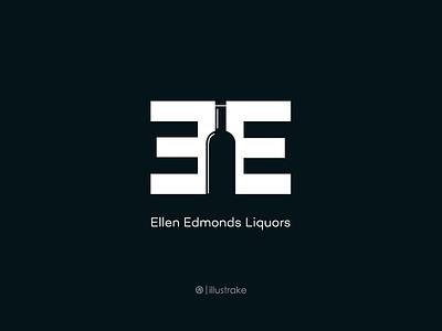E.E. Liquors Logo illustration illustration bottle mark beer logo bottle logo ee liquor escher symbol lettermark branding logo