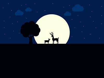 Nighty Night illustration ❤ adobe illustrator graphic design cloud design dribbble deer night moon graphic character illustration flat design