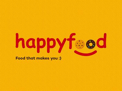 Happyfood Logo Concept Design typography symbol logotype logomark logo illustration icon dribbble design branding illustrator adobe
