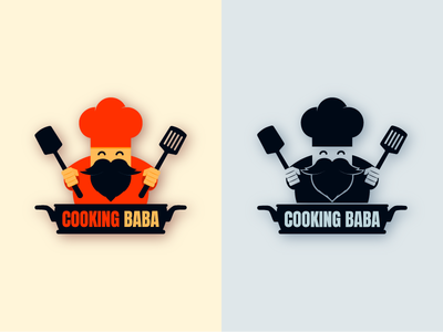 Cooking Baba Logo illustration cooking mascot logo mascot character art logomark typography illustrator branding logotype illustration icon logo