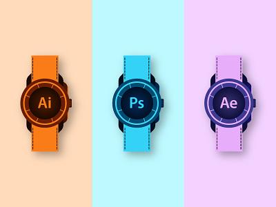 Adobe Watches Concept Illustration artwork adobe photoshop adobe aftereffects adobe illustrator mark logomark letter illustrator branding logotype logo illustration icon