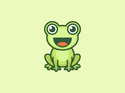 Frog symbol icon smile smiling personality personal mascot character logo identity illustrative illustration green amphibia geometry geometric frog animal friendly happy draw drawing cute fun funny clean simple character mascot cartoon flat brand branding bold outline