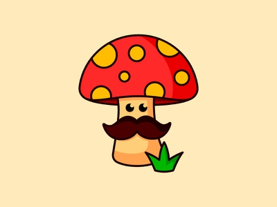 Mushroom Mascot adobe illustrator design moustache mushroom minimal logotype logo character icon illustration branding mascot