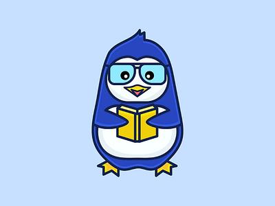 Bibliophile Penguin character design icon penguin mascot character adobe illustrator design dribbble branding graphics illustrations logo