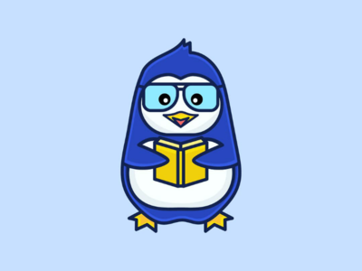 Bibliophile Penguin character design icon penguin mascot character adobe illustrator design dribbble branding graphics illustrations logo