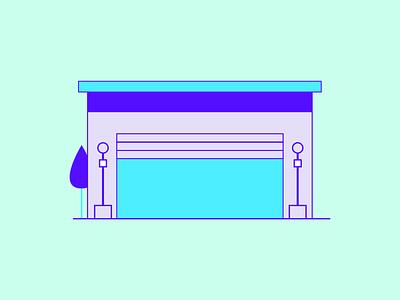 Simple Garage Illustration garage illustration illustrations minimal simple green purple designing graphic design creative design adobe illustrator illustration apple garage garage
