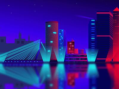 Rotterdam Skyline Illustration design creative adobe illustrator neon light neon skyline neon illustration neon skyline illustration illustration netherlands rotterdam skyscrapers skyscraper skylark skyline