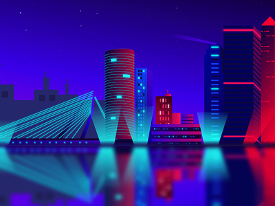 Rotterdam Skyline Illustration design creative adobe illustrator neon light neon skyline neon illustration neon skyline illustration illustration netherlands rotterdam skyscrapers skyscraper skylark skyline