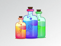 Social Media Drug Bottles Illustration