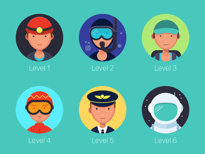 TouchUp Level Icons caving cosmonaut pilot hiking walking diving game contacts touchup levels