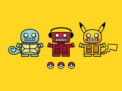 Pokébots pokeball robots illustration bots boxybots characters pokemon pokémon