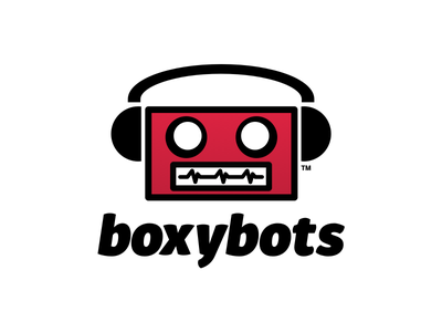 Boxybots Logo cartoon charlotte nc mr mayor botpocalypse bot stickermule robots illustration boxybots