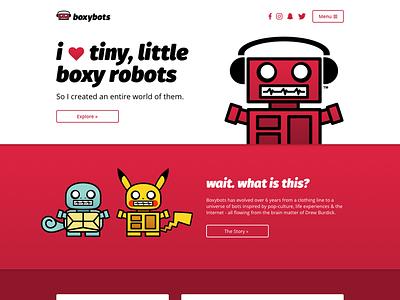 Boxybots Site Redesign (WIP) red dailyui ui responsive website web design cartoon charlotte nc bot robots illustration boxybots