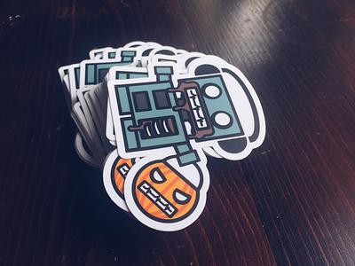 Zombie Bot Sticker stickermule sticker design halloween character design sticker robots stickers boxybots