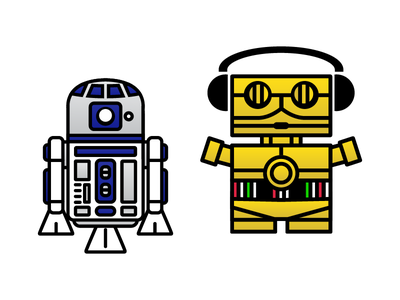 These are not the droids you are looking for. dailyboxybots boxybots robots illustrator daily illustration star wars