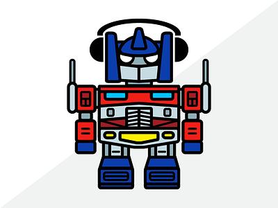 Botimus Prime daily challenge illustrator adobe illustrator dailyboxybots optimus prime character design robots boxybots