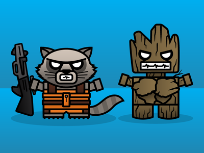 Rocket & Groot marvel vector illustrations 365 project vector adobe illustrator boxybots dailyboxybots illustration guardians of the galaxy