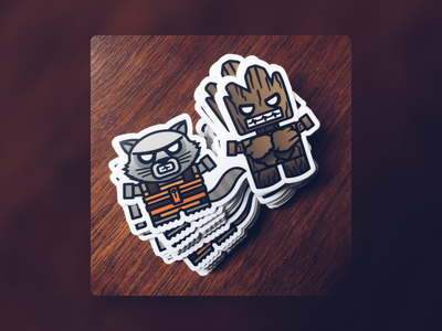 Guardians stickermule marvel guardians of the galaxy illustrator vector stickers illustration boxybots